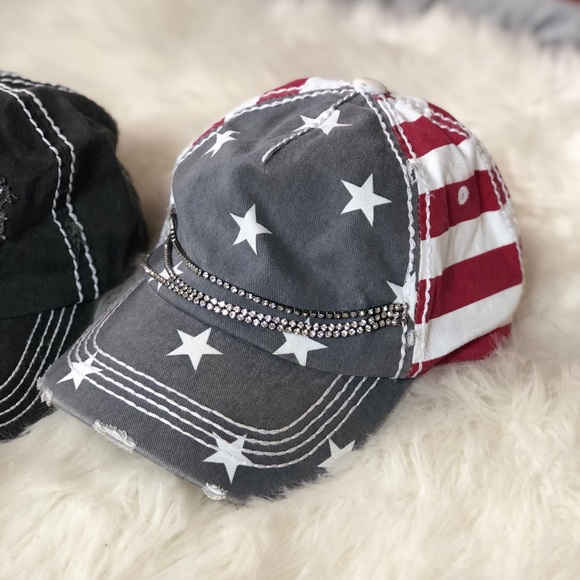 Olive + Pique American Flag Bling Hat. M 5b26913545c8b38ff8da8b6b d44fe234577